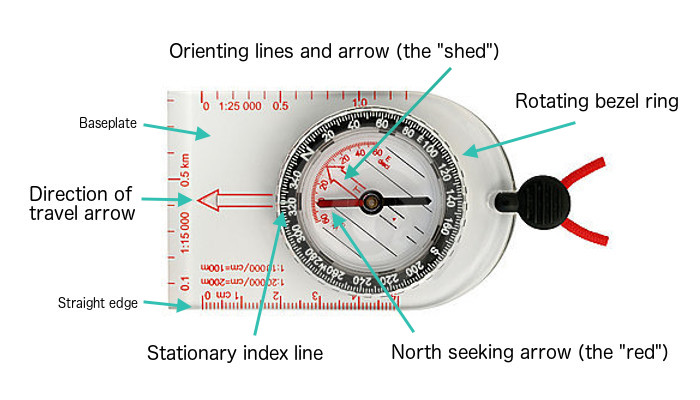 Parts of a compass for survival prepping