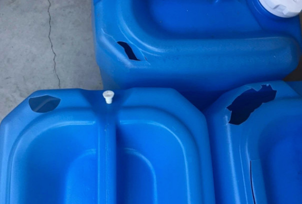 Cheap water containers will crack after light use