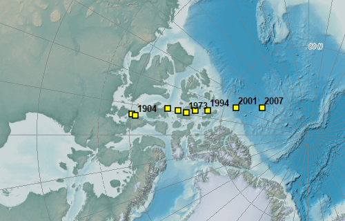 Magnetic north pole moves over time