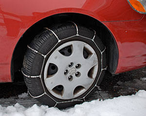 radial snow winter tire chains driving car