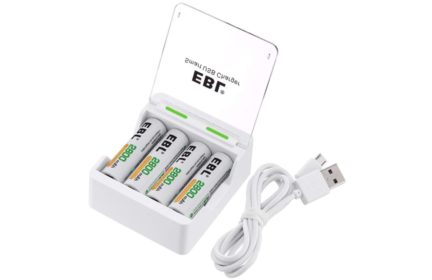 EBL USB Charger with 4 NiMH Rechargeable AA batteries