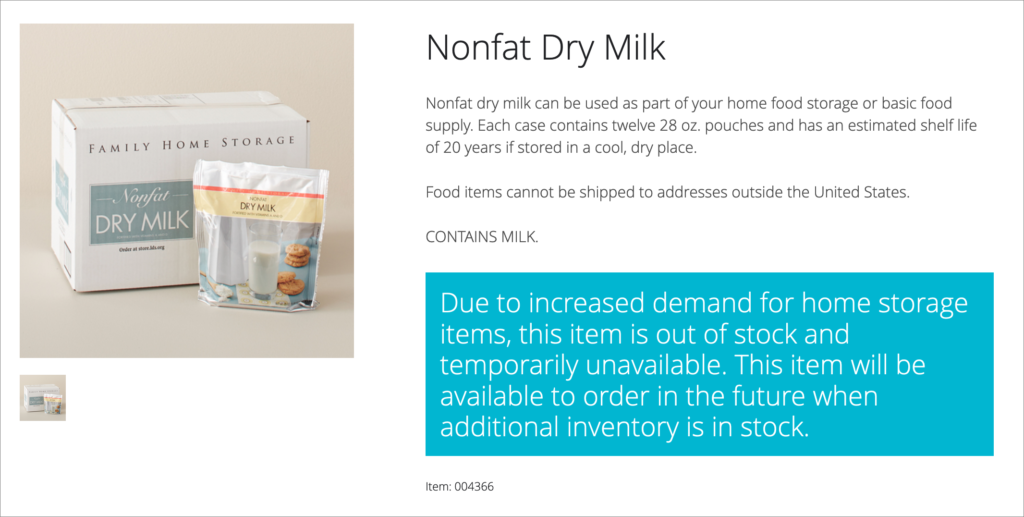 Dry milk out of stock message