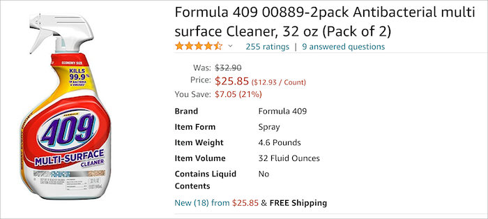 409 price on Amazon