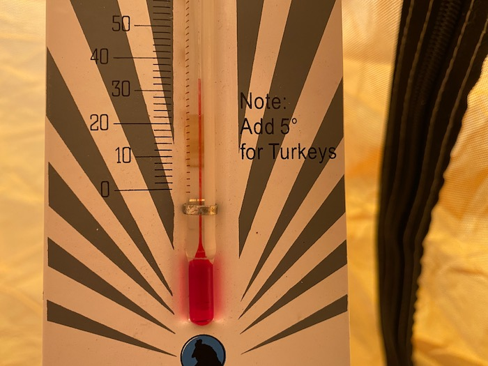 Thermometer at 35F