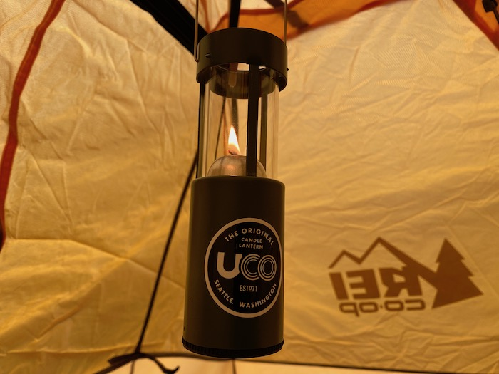 Candle lantern hanging in the tent