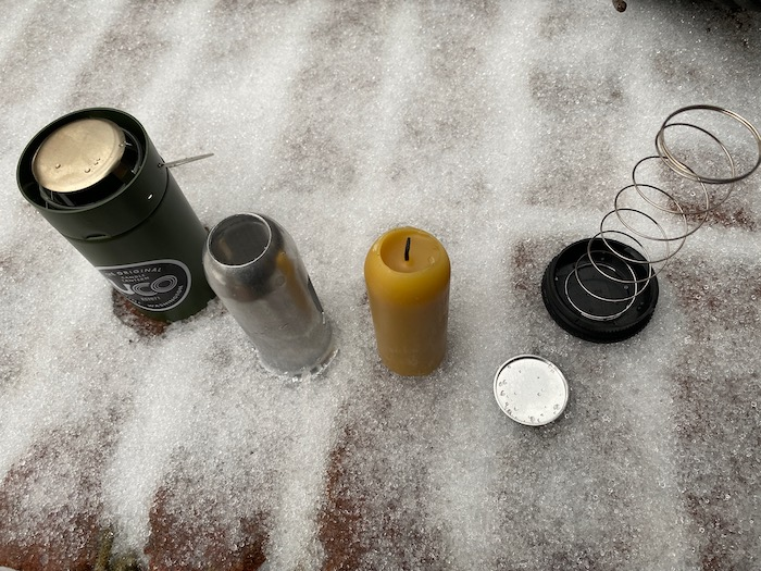 Parts of the UCO Candle Lantern