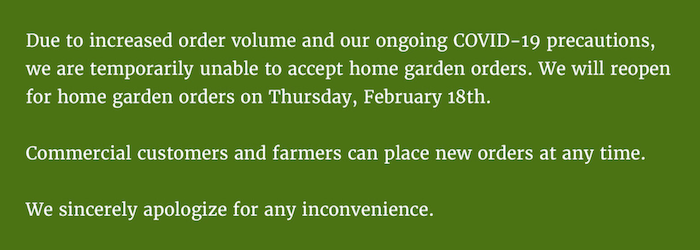 Johnny's Seeds shutdown notice