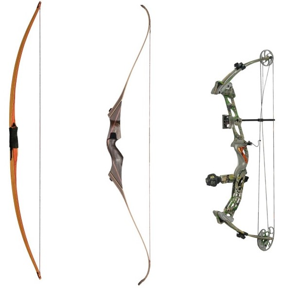 Longbow, recurve, and compound bow
