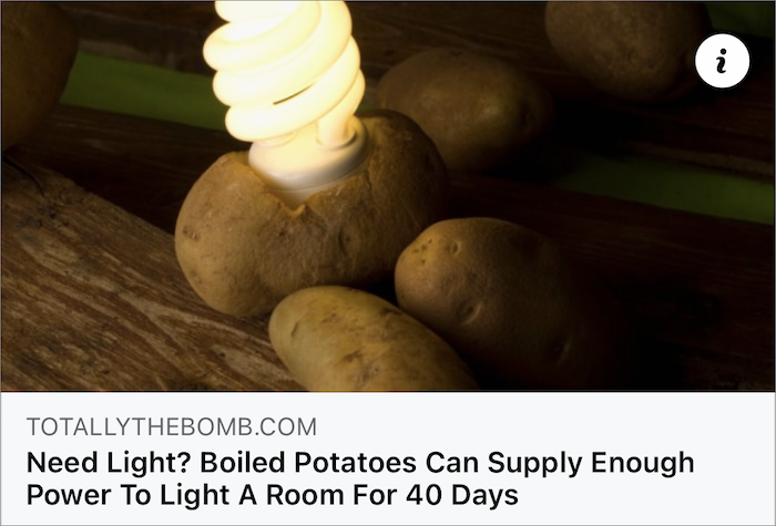 Facebook post touting potato power