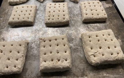 Hardtack going into the oven