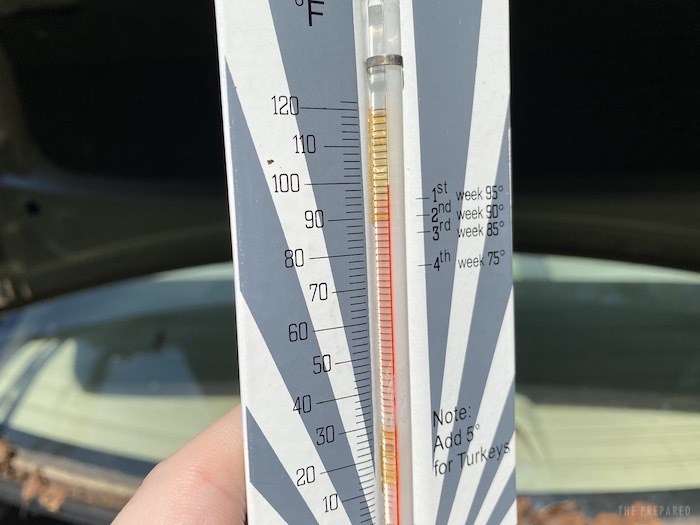 Thermometer after sitting in a trunk