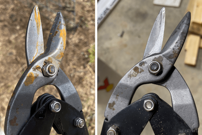 Comparison of snippers before and after the sand bucket