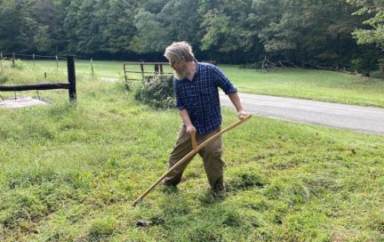 The author scything his yard
